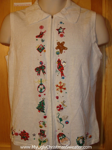 Tacky Ugly Christmas Sweater Vest (f379)