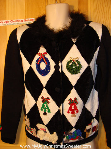 Tacky Ugly Christmas Sweater Furry Collar with Diamond Pattern of Festive Wreaths, Trees,  and Dogs (f37)