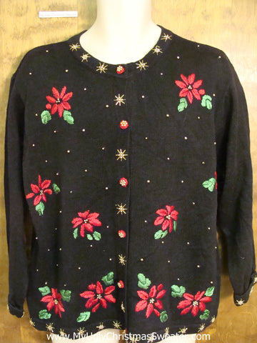 Poinsettia Paradise Black Ugliest Christmas Sweater