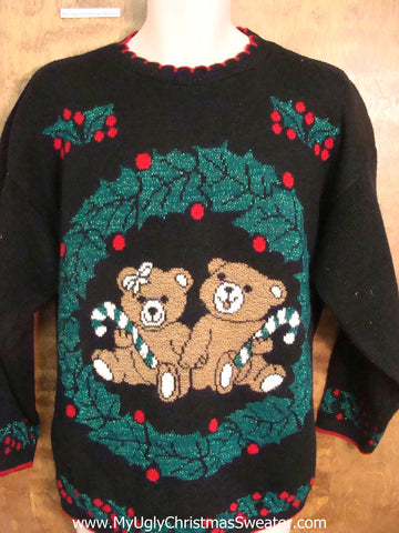 Teddy Bears 80s Ugliest Christmas Sweater Pullover