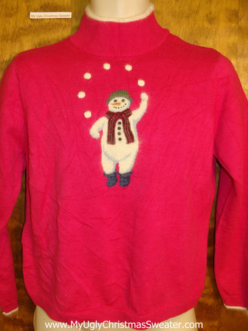 Naked Juggling Snowman 2sided Ugliest Christmas Sweater Pullover