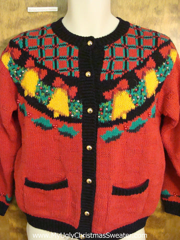 Horrible 80s Ugliest Christmas Sweater with Bells