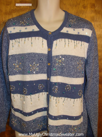 Baby Blue Ugliest Christmas Sweater with Bling