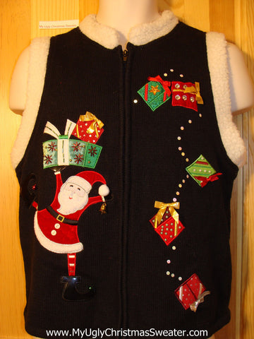 Tacky Ugly Christmas Sweater Vest Leaping Santa. Furry Collar. (f381)