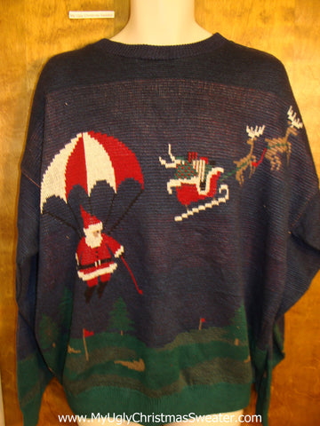 Golfing Santa and Reindeer Mens Ugliest Christmas Sweater Pullover