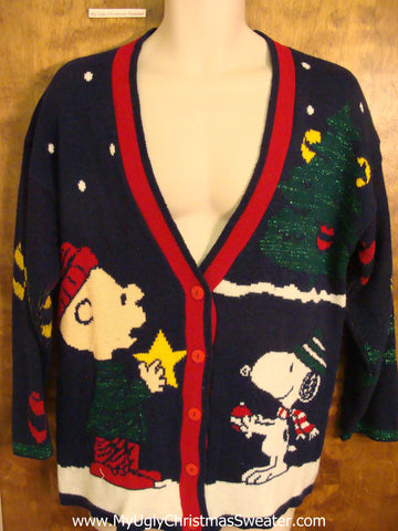 Best 80s Snoopy Charlie Brown Ugliest Christmas Sweater