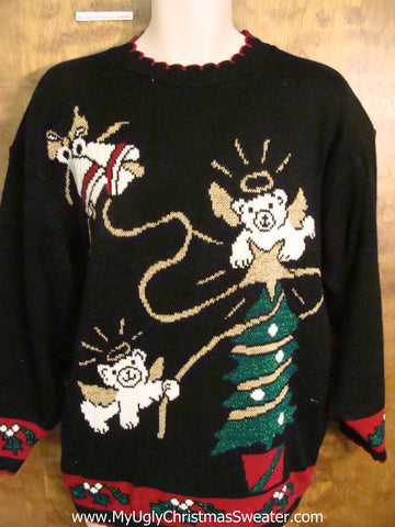 Teddy Bear Angels 80s Ugliest Christmas Sweater Pullover