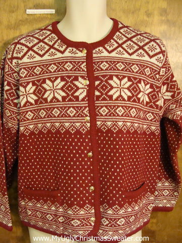 Red Nordic Ugliest Christmas Sweater
