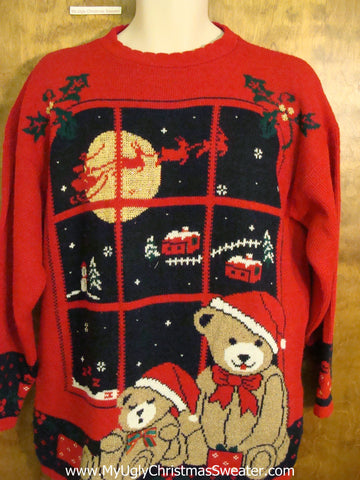Best 80s Teddy Bear and Reindeer Ugliest Christmas Sweater Pullover