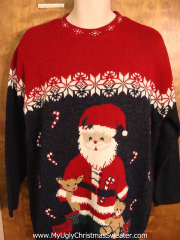 Surprised Santa 80s Ugliest Christmas Sweater Pullover