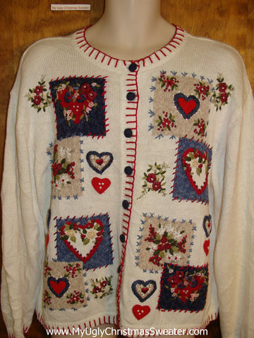 Cheap Valentine Hearts Fun Ugliest Christmas Sweater