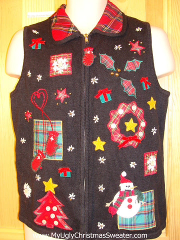 Tacky Ugly Christmas Sweater Vest Plaid Crafty Decorations (f383)