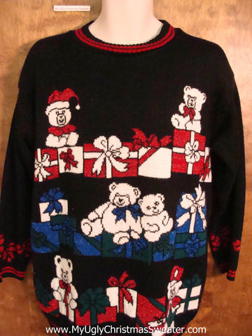 Teddy Bear Party 80s Ugliest Christmas Sweater Pullover
