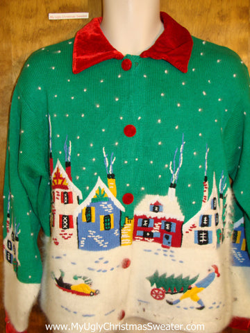 Soft and Fluffy 2sided Town Themed Ugliest Christmas Sweater