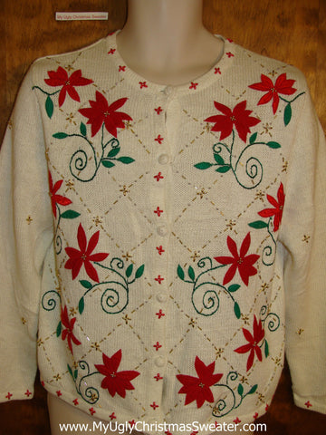 Horrible Red Poinsettias 2sided Ugliest Christmas Sweater