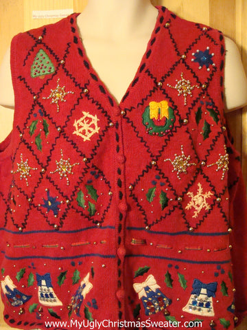 Tacky Ugly Christmas Sweater Vest with Bling Bead Accents (f384)