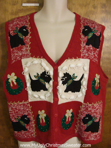Puppy Dogs and Wreaths Ugliest Christmas Sweater Vest