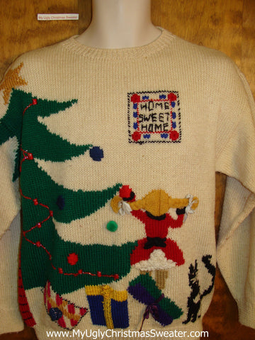 Best 80s Vintage Ugliest Christmas Sweater Pullover with a Cat