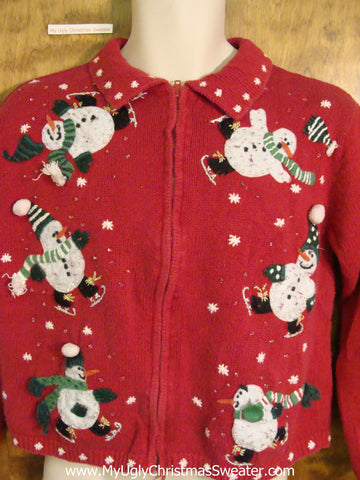 Tumbling Snowmen 2sided Red Ugliest Christmas Sweater