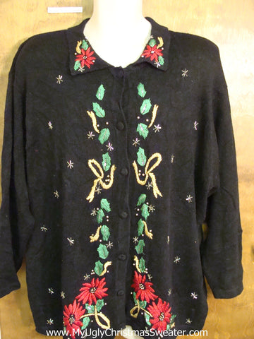 Big Size 80s Ugliest Christmas Sweater with Poinsettias
