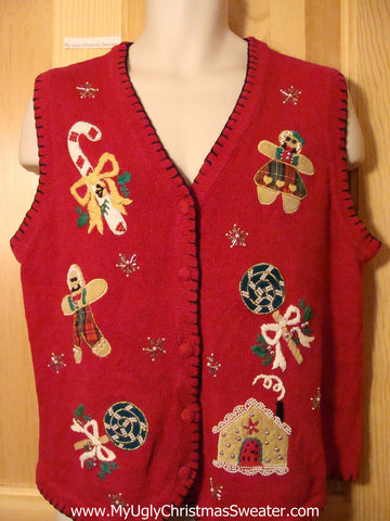 Tacky Ugly Christmas Sweater Vest Gingerbread Girl, Boy, and House (f385)