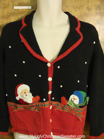 Peaking Santa and Snowman Ugliest Christmas Sweater