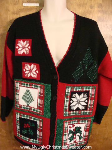 Ugliest 80s Acrylic Christmas Sweater with Plaid Accents