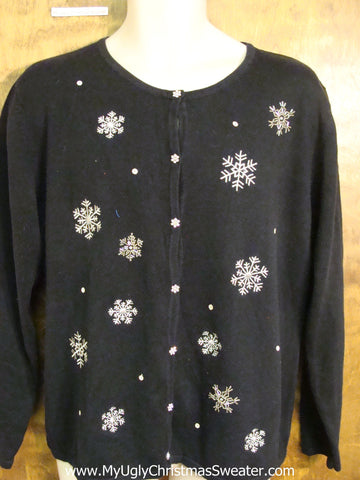 Cheap Black Ugliest Christmas Sweater with Snowflakes