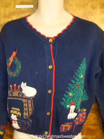 Vintage Dog and Cats 80s Ugliest Christmas Sweater