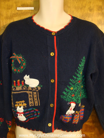 Dog and Cats 80s Classic Ugliest Christmas Sweater