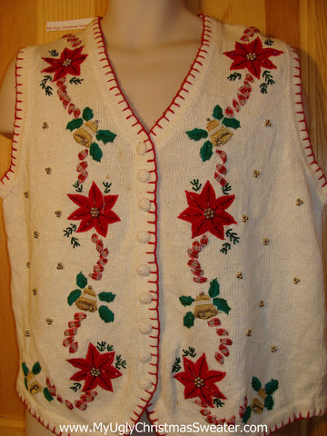 Tacky Ugly Christmas Sweater Vest with Poinsetias and Bling (f386)