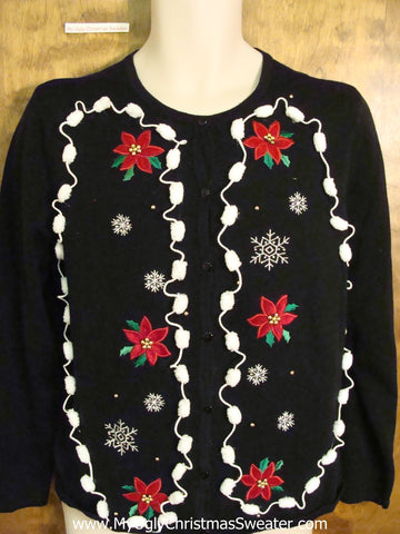 Funny Poinsettia and Pom Pom Themed Ugliest Christmas Sweater
