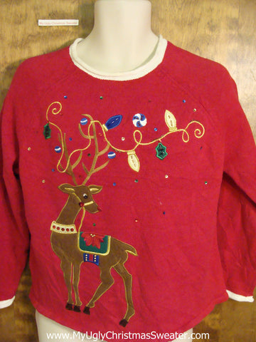 Huge Reindeer with Festive Antlers Ugliest Christmas Sweater Pullover