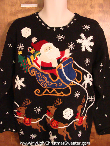 Best Santa and Reindeer Ugliest Christmas Sweater Pullover