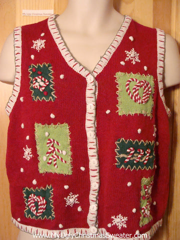 Tacky Ugly Christmas Sweater Vest with Candy Cane Trim (f387)