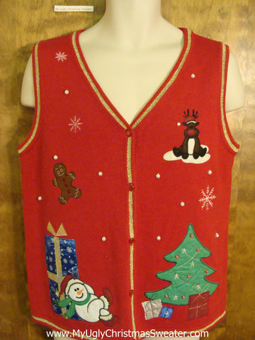 Red Festive Ugliest Christmas Sweater Vest