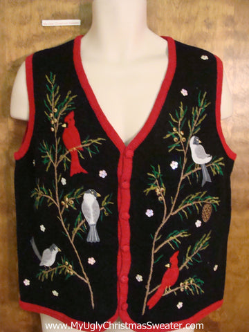 Festive Holiday Birds Ugliest Christmas Sweater Vest