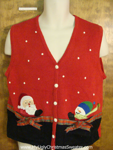 Peaking Santa and Snowman Red Ugliest Christmas Sweater Vest