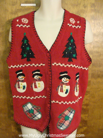Crafty Red Ugliest Christmas Sweater Vest with Plaid Mittens
