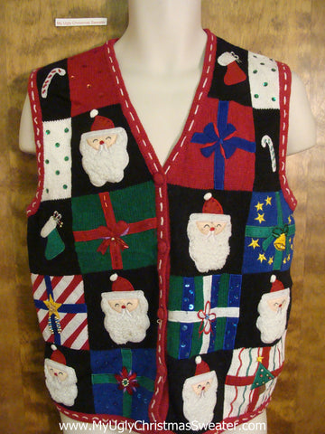 Corny Horrible Santa Heads Ugliest Christmas Sweater Vest