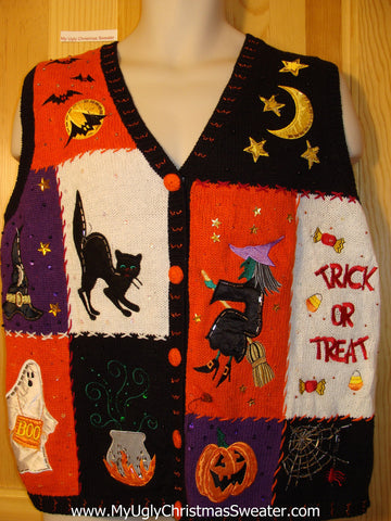 Tacky Ugly Halloween Sweater Vest (f388)