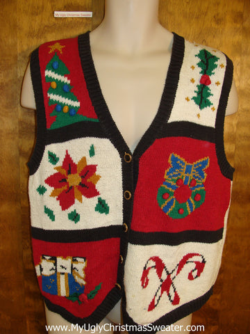 Ugliest 80s Christmas Sweater Vest with Candy Cane and Poinsettia