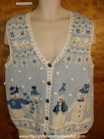 Ugliest Baby Blue Christmas Sweater Vest with Snowmen