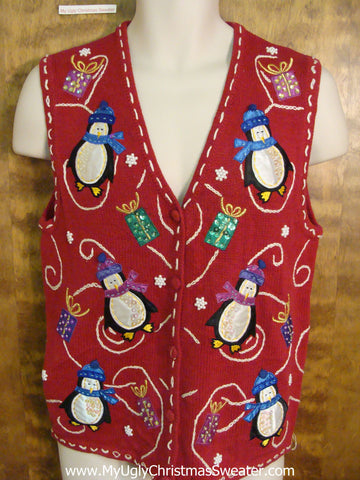 Cute Penguin and Gifts Red Ugliest Christmas Sweater Vest