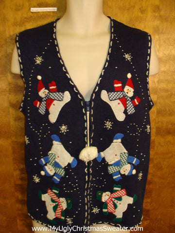 Tumbling Surprised Snowmen Ugliest Christmas Sweater Vest