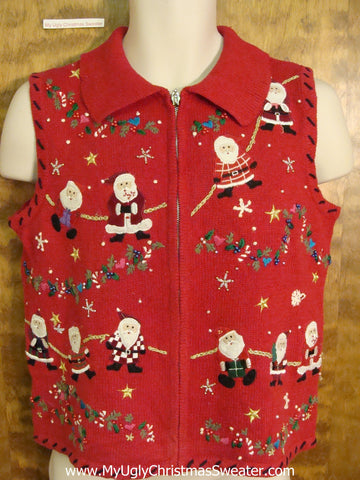 Santa Conga Line Red Ugliest Christmas Sweater Vest
