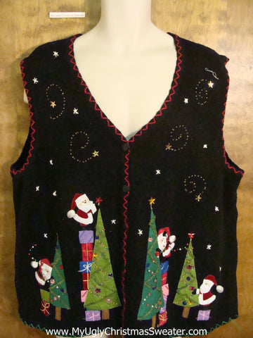 Pointy Trees and Santa Ugliest Christmas Sweater Vest