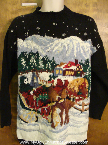 Best 80s Horse and Sleigh Ugliest Christmas Sweater Pullover