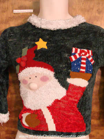 Child Size Huge Santa with Pom Pom Nose Ugliest Christmas Sweater Pullover