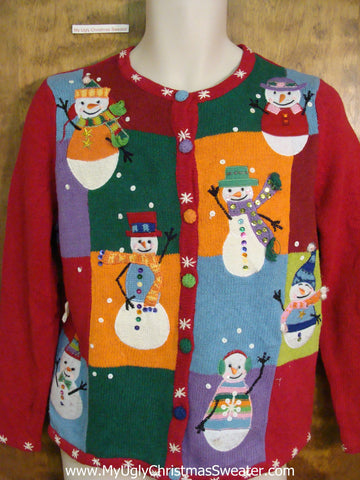 Colorful Snowman Themed Corny Cheesy Christmas Sweater
